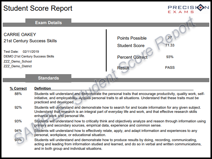 Sample Student Score Report